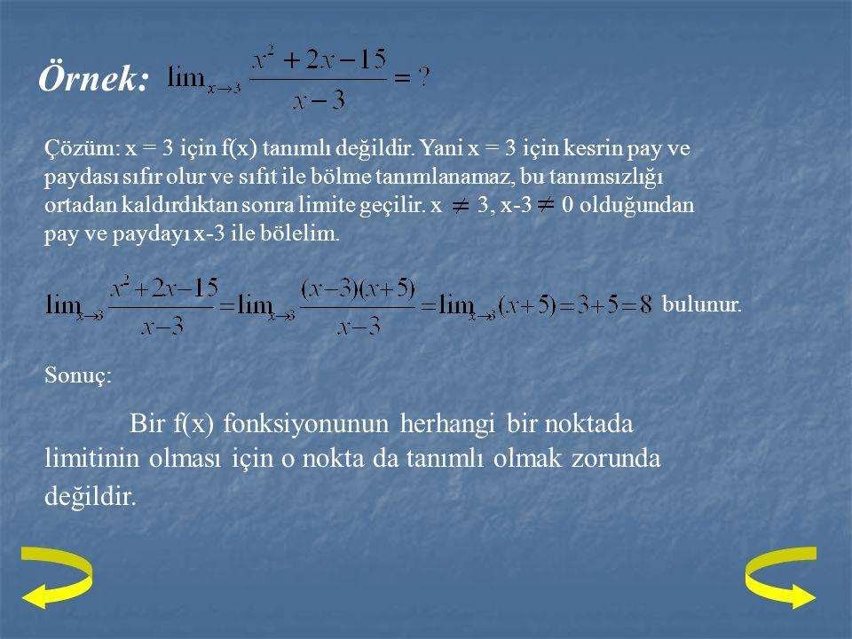 Tanım: Bir x 0  A = [a,b] alalım. f : A  R ye veya f : A -{x 0 }  R ye bir Fonksiyon olsun Terimleri A - {x 0 } Cümlesine ait ve x 0 'a yakınsayan