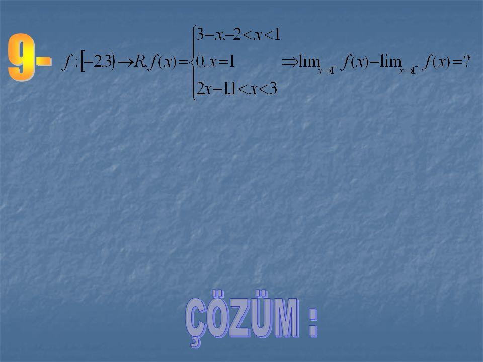 1 1 y y x x fonksiyonunun grafiği yanda görülmektedir. Buna göre olduğundan, yani f(x) fonksiyonun x = 1 noktasında sağdan ve soldan limitleri farklıd