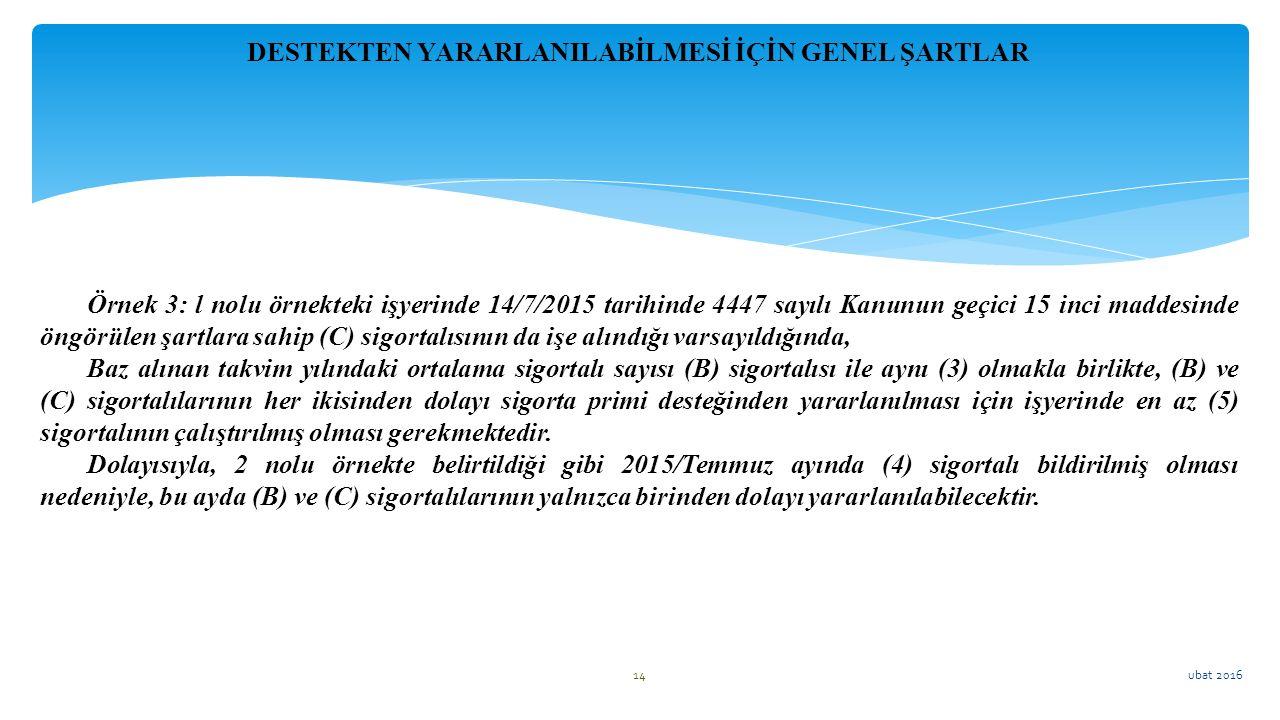 ubat 2016 14 Örnek 3: l nolu örnekteki işyerinde 14/7/2015 tarihinde 4447 sayılı Kanunun geçici 15 inci maddesinde öngörülen şartlara sahip (C) sigort