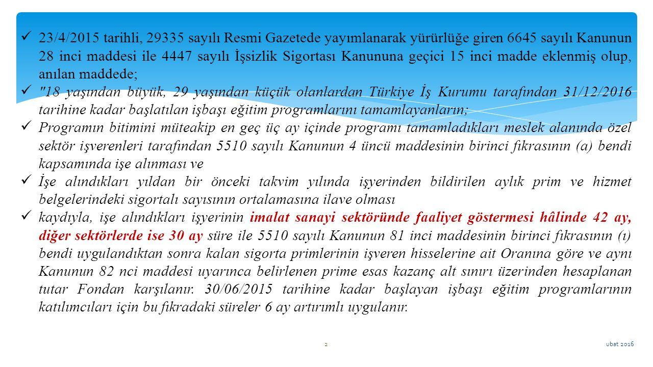 ubat 2016 2 23/4/2015 tarihli, 29335 sayılı Resmi Gazetede yayımlanarak yürürlüğe giren 6645 sayılı Kanunun 28 inci maddesi ile 4447 sayılı İşsizlik S