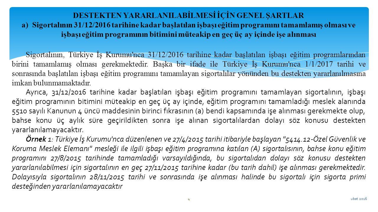 ubat 2016 4 Sigortalının, Türkiye İş Kurumu'nca 31/12/2016 tarihine kadar başlatılan işbaşı eğitim programlarından birini tamamlamış olması gerekmekte