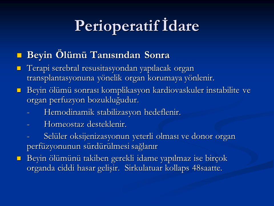 Perioperatif İdare Beyin Ölümü Tanısından Sonra Beyin Ölümü Tanısından Sonra Terapi serebral resusitasyondan yapılacak organ transplantasyonuna yöneli