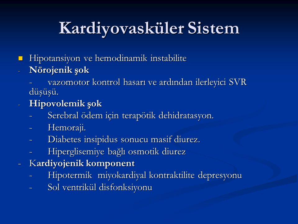 Kardiyovasküler Sistem Hipotansiyon ve hemodinamik instabilite Hipotansiyon ve hemodinamik instabilite - Nörojenik şok -vazomotor kontrol hasarı ve ar