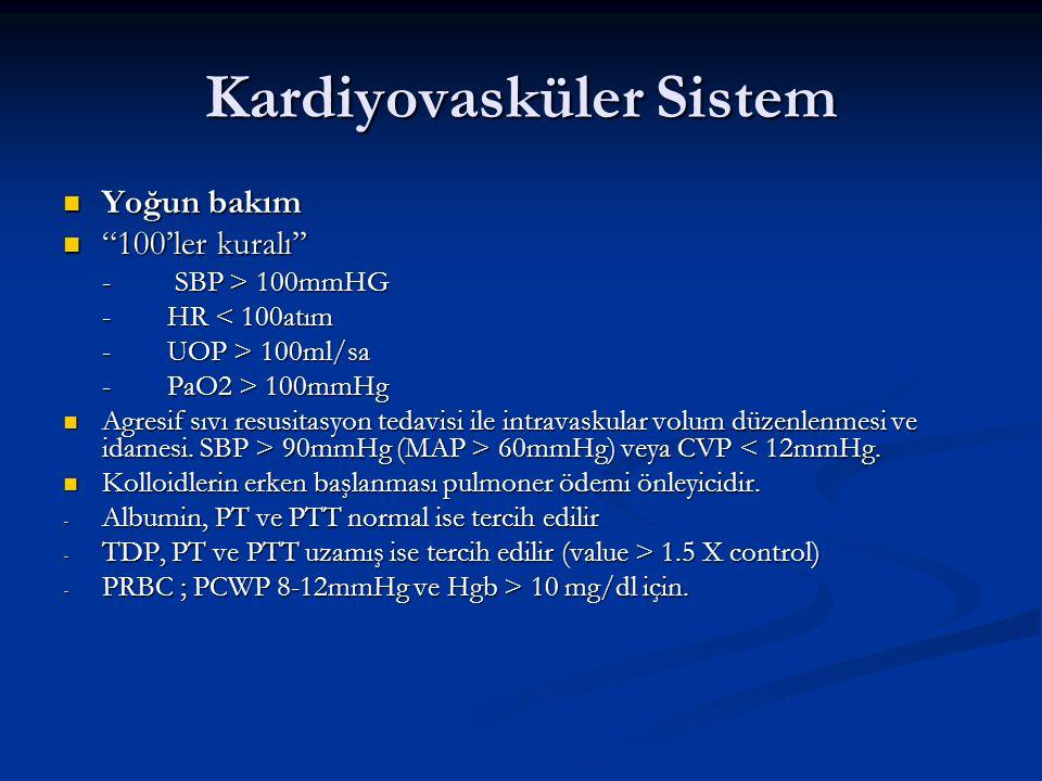 """Kardiyovasküler Sistem Yoğun bakım Yoğun bakım """"100'ler kuralı'' """"100'ler kuralı'' - SBP > 100mmHG -HR < 100atım -UOP > 100ml/sa -PaO2 > 100mmHg Agres"""