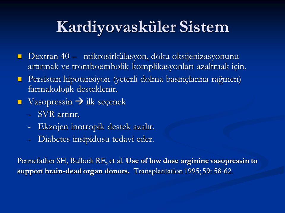 Kardiyovasküler Sistem Dextran 40 – mikrosirkülasyon, doku oksijenizasyonunu artırmak ve tromboembolik komplikasyonları azaltmak için. Dextran 40 – mi