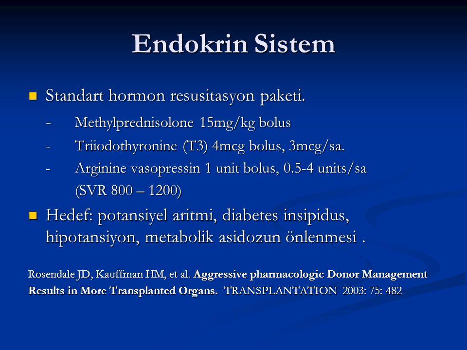 Endokrin Sistem Standart hormon resusitasyon paketi. Standart hormon resusitasyon paketi. - Methylprednisolone 15mg/kg bolus -Triiodothyronine (T3) 4m