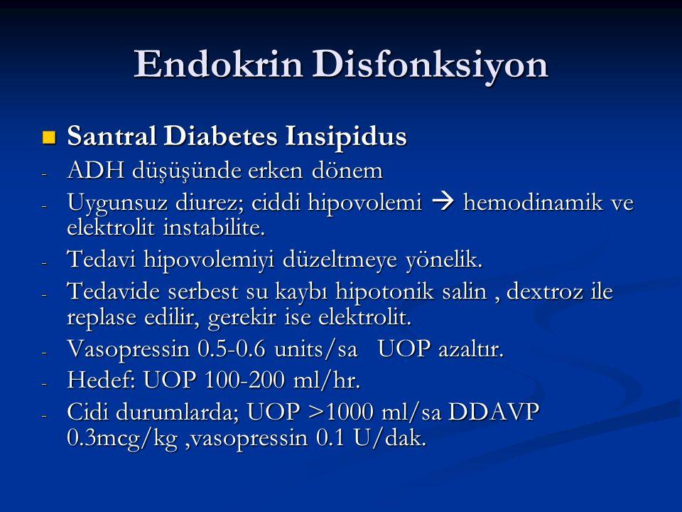 Endokrin Disfonksiyon Santral Diabetes Insipidus Santral Diabetes Insipidus - ADH düşüşünde erken dönem - Uygunsuz diurez; ciddi hipovolemi  hemodina