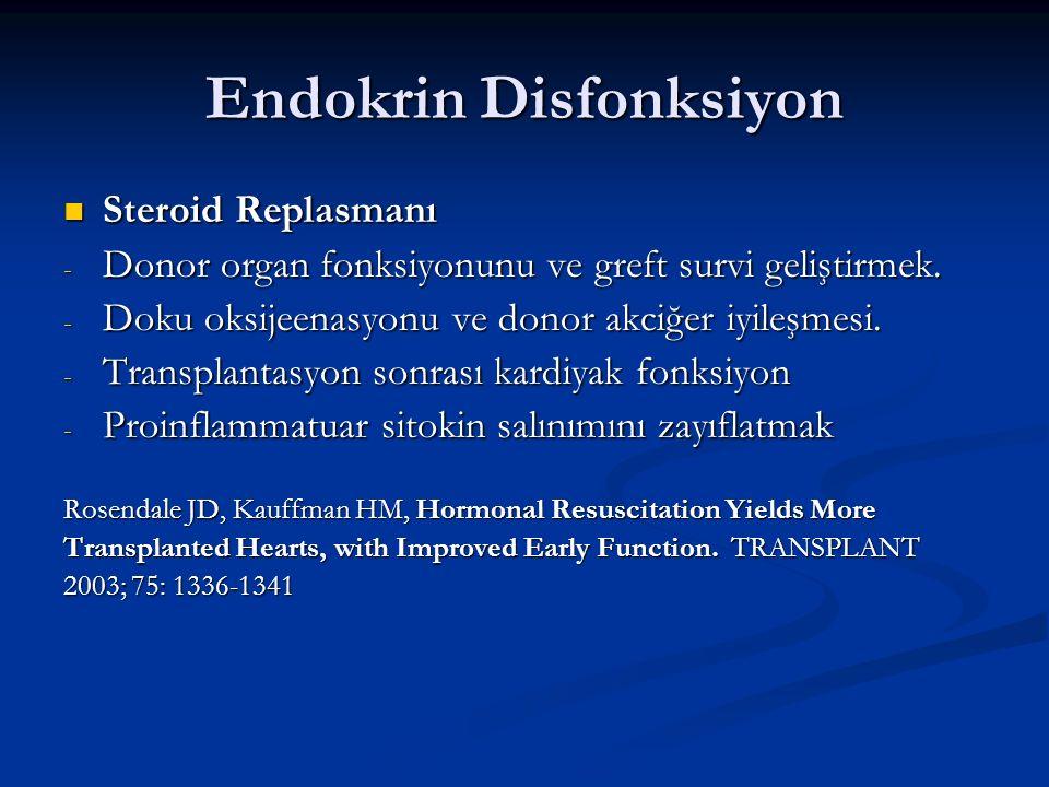 Endokrin Disfonksiyon Steroid Replasmanı Steroid Replasmanı - Donor organ fonksiyonunu ve greft survi geliştirmek. - Doku oksijeenasyonu ve donor akci