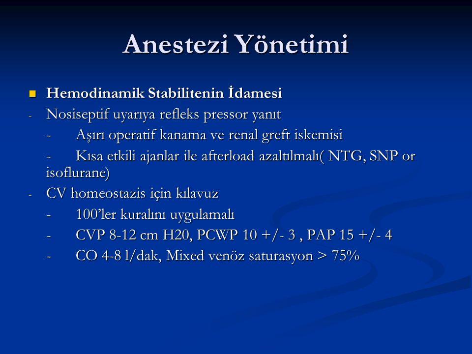 Anestezi Yönetimi Hemodinamik Stabilitenin İdamesi Hemodinamik Stabilitenin İdamesi - Nosiseptif uyarıya refleks pressor yanıt -Aşırı operatif kanama