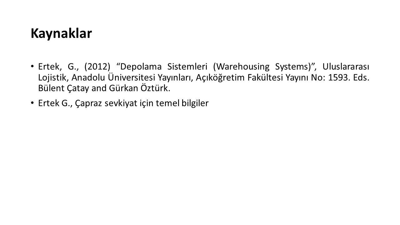 Kaynaklar Ertek, G., (2012) Depolama Sistemleri (Warehousing Systems) , Uluslararası Lojistik, Anadolu Üniversitesi Yayınları, Açıköğretim Fakültesi Yayını No: 1593.