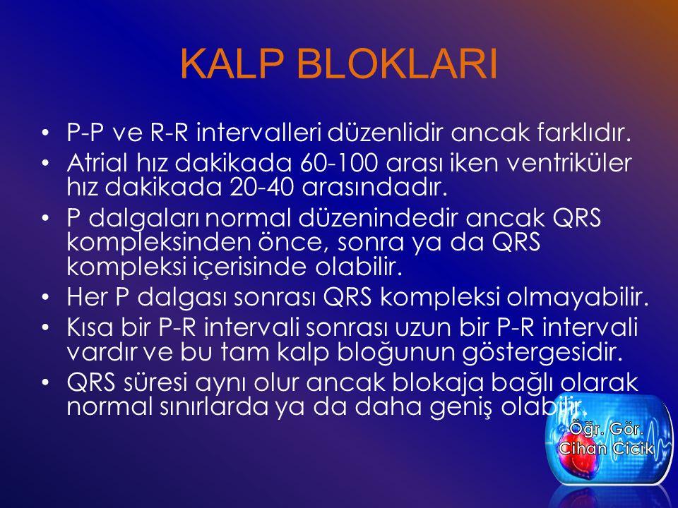 KALP BLOKLARI P-P ve R-R intervalleri düzenlidir ancak farklıdır. Atrial hız dakikada 60-100 arası iken ventriküler hız dakikada 20-40 arasındadır. P