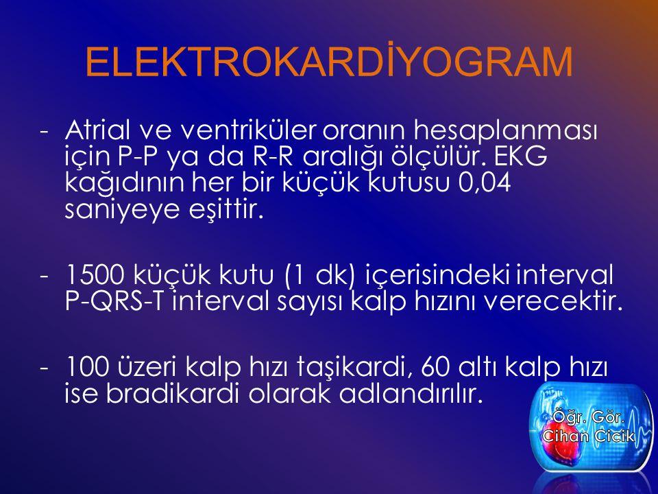 -Atrial ve ventriküler oranın hesaplanması için P-P ya da R-R aralığı ölçülür.