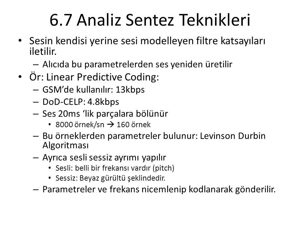 6.7 Analiz Sentez Teknikleri Sesin kendisi yerine sesi modelleyen filtre katsayıları iletilir.