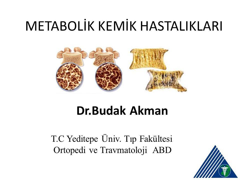 METABOLİK KEMİK HASTALIKLARI Dr.Budak Akman T.C Yeditepe Üniv. Tıp Fakültesi Ortopedi ve Travmatoloji ABDp Fakültesi Ortopedi ve Travmatoloji Anabilim