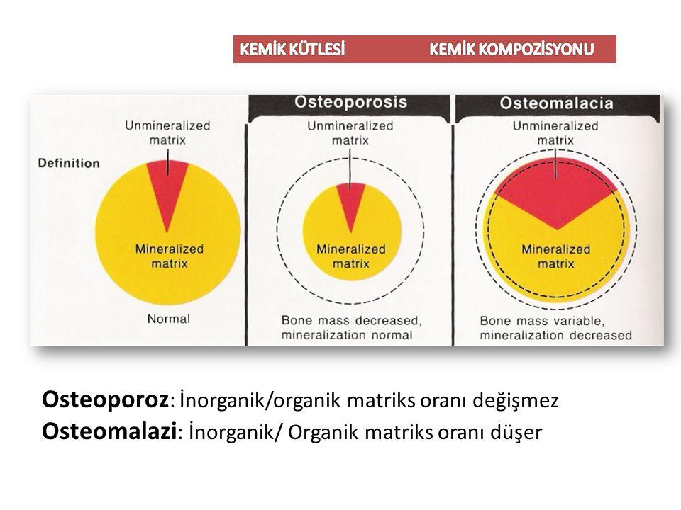 Osteoporoz : İnorganik/organik matriks oranı değişmez Osteomalazi : İnorganik/ Organik matriks oranı düşer