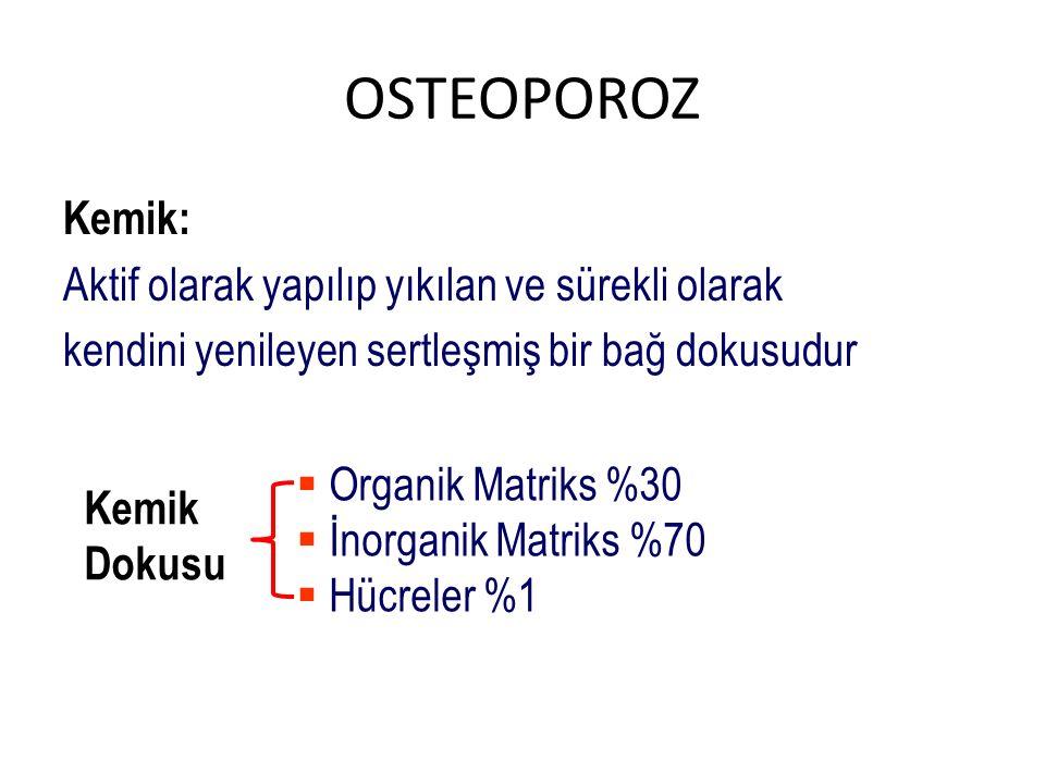 OSTEOPOROZ Kemik: Aktif olarak yapılıp yıkılan ve sürekli olarak kendini yenileyen sertleşmiş bir bağ dokusudur Kemik Dokusu  Organik Matriks %30  İ