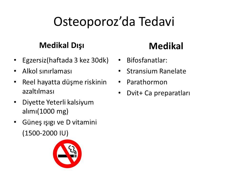 Osteoporoz'da Tedavi Medikal Dışı Egzersiz(haftada 3 kez 30dk) Alkol sınırlaması Reel hayatta düşme riskinin azaltılması Diyette Yeterli kalsiyum alım