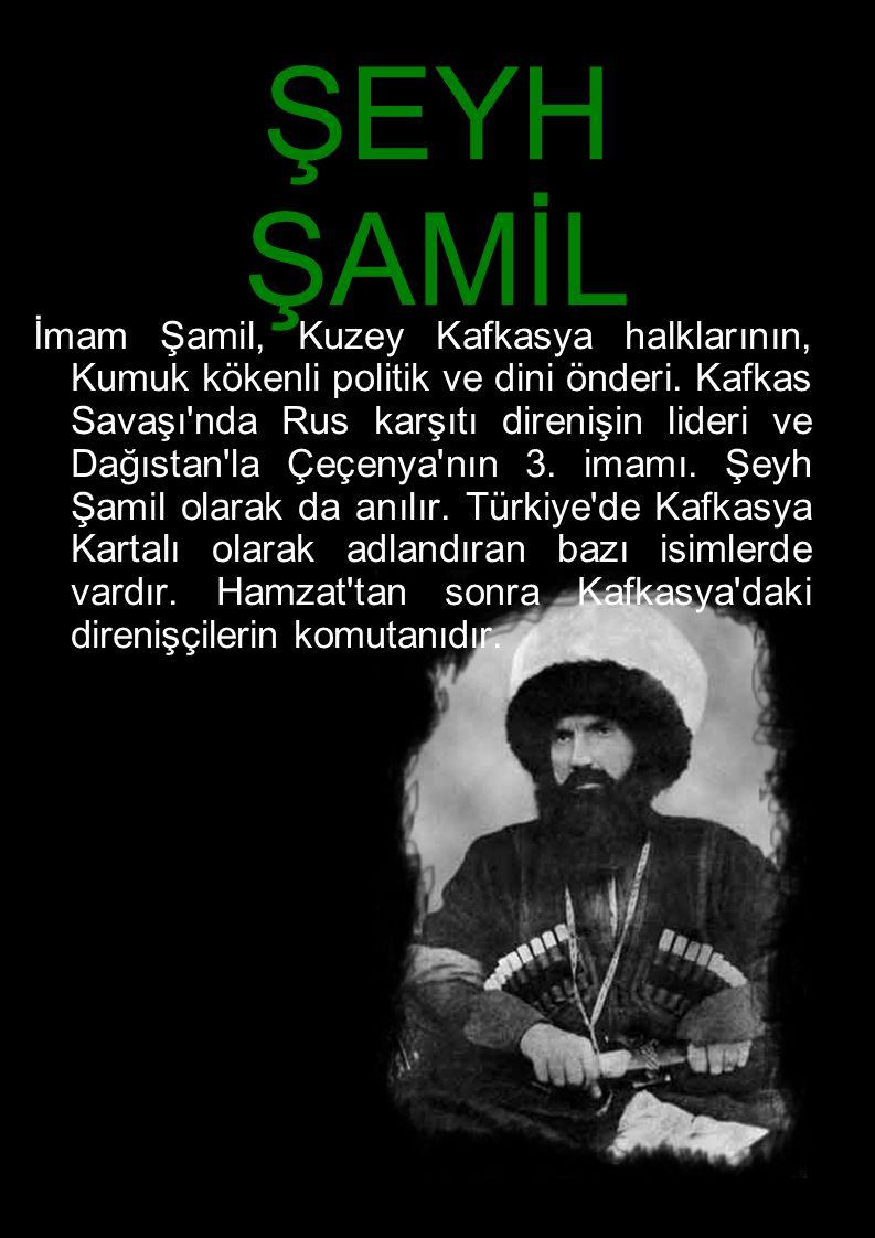 ŞEYH ŞAMİL İmam Şamil, Kuzey Kafkasya halklarının, Kumuk kökenli politik ve dini önderi. Kafkas Savaşı'nda Rus karşıtı direnişin lideri ve Dağıstan'la