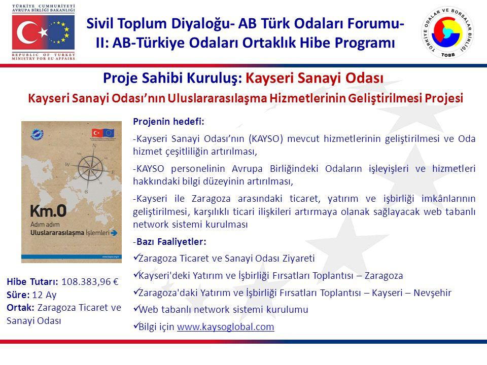 Proje Sahibi Kuruluş: Kayseri Sanayi Odası Kayseri Sanayi Odası'nın Uluslararasılaşma Hizmetlerinin Geliştirilmesi Projesi Projenin hedefi: -Kayseri S