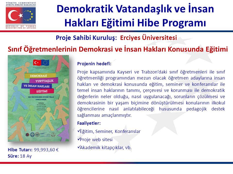 Demokratik Vatandaşlık ve İnsan Hakları Eğitimi Hibe Programı Proje Sahibi Kuruluş: Erciyes Üniversitesi Sınıf Öğretmenlerinin Demokrasi ve İnsan Hakl