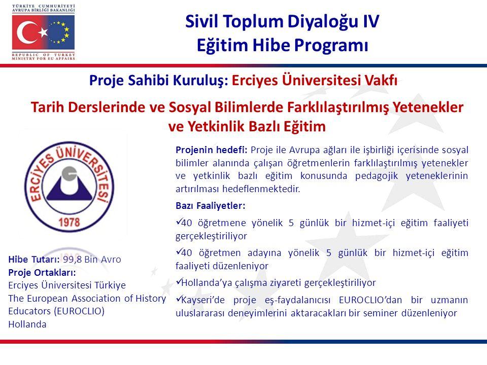 Proje Sahibi Kuruluş: Erciyes Üniversitesi Vakfı Tarih Derslerinde ve Sosyal Bilimlerde Farklılaştırılmış Yetenekler ve Yetkinlik Bazlı Eğitim Projeni