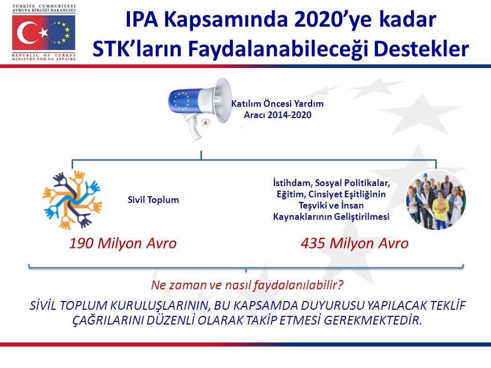 Yeni Dönemde Sivil Topluma Destekler 13 2 2014 2020 2014-2020 IPA-II dönemi için sivil toplum alt sektörüne ayrılan kaynak: 190 milyon Avro Sivil Toplum Diyaloğu Kapasite Gelişimi Kamu - STK İşbirliği
