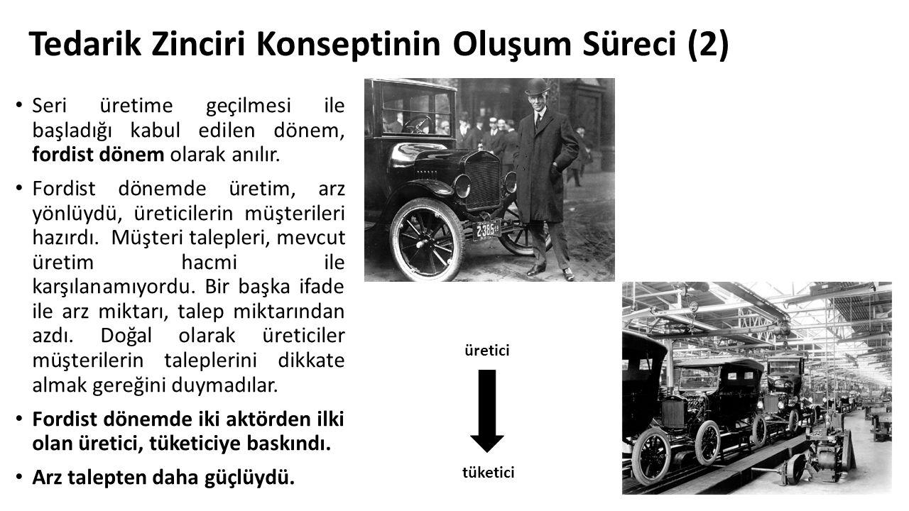Tedarik Zinciri Konseptinin Oluşum Süreci (2) Seri üretime geçilmesi ile başladığı kabul edilen dönem, fordist dönem olarak anılır. Fordist dönemde ür