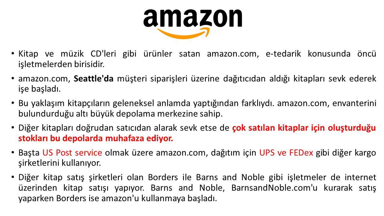 Kitap ve müzik CD'leri gibi ürünler satan amazon.com, e-tedarik konusunda öncü işletmelerden birisidir. amazon.com, Seattle'da müşteri siparişleri üze
