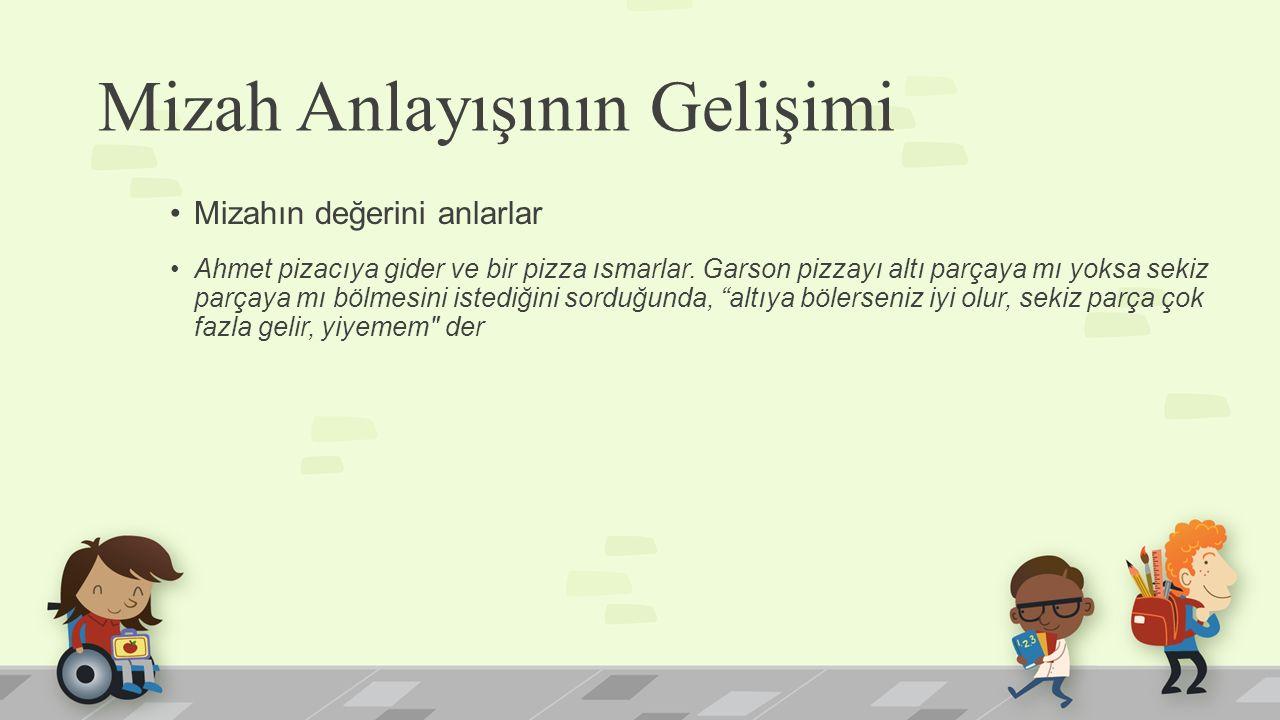 Mizah Anlayışının Gelişimi Mizahın değerini anlarlar Ahmet pizacıya gider ve bir pizza ısmarlar. Garson pizzayı altı parçaya mı yoksa sekiz parçaya mı