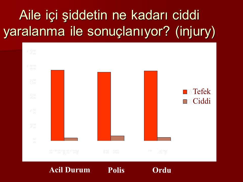Aile içi şiddetin ne kadarı ciddi yaralanma ile sonuçlanıyor? (injury) Acil Durum PolisOrdu Tefek Ciddi
