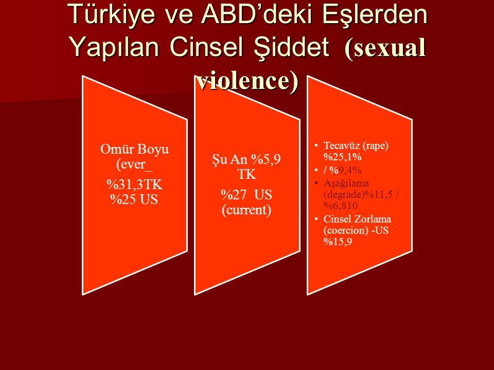 Omür Boyu (ever_ %31,3TK %25 US Şu An %5,9 TK %27 US (current) Tecavüz (rape) %25,1% / %9,4% Aşağılama (degrade)%11,5 / %6,810 Cinsel Zorlama (coercion) -US %15,9 Türkiye ve ABD'deki Eşlerden Yapılan Cinsel Şiddet (sexual violence)