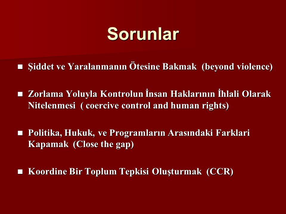 Sorunlar Şiddet ve Yaralanmanın Ötesine Bakmak (beyond violence) Şiddet ve Yaralanmanın Ötesine Bakmak (beyond violence) Zorlama Yoluyla Kontrolun İnsan Haklarının İhlali Olarak Nitelenmesi ( coercive control and human rights) Zorlama Yoluyla Kontrolun İnsan Haklarının İhlali Olarak Nitelenmesi ( coercive control and human rights) Politika, Hukuk, ve Programların Arasındaki Farklari Kapamak (Close the gap) Politika, Hukuk, ve Programların Arasındaki Farklari Kapamak (Close the gap) Koordine Bir Toplum Tepkisi Oluşturmak (CCR) Koordine Bir Toplum Tepkisi Oluşturmak (CCR)