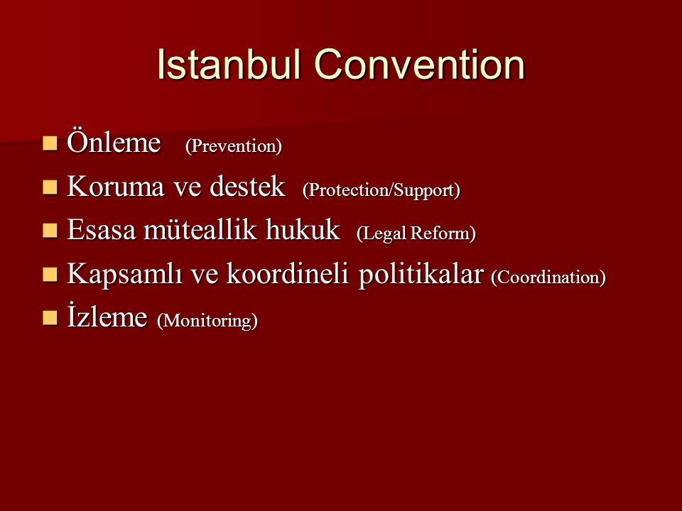 Istanbul Convention Önleme (Prevention) Önleme (Prevention) Koruma ve destek (Protection/Support) Koruma ve destek (Protection/Support) Esasa müteallik hukuk (Legal Reform) Esasa müteallik hukuk (Legal Reform) Kapsamlı ve koordineli politikalar (Coordination) Kapsamlı ve koordineli politikalar (Coordination) İzleme (Monitoring) İzleme (Monitoring)