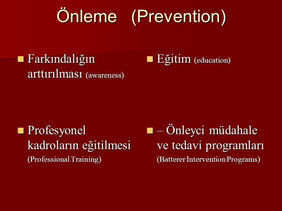 Önleme (Prevention) Farkındalığın arttırılması (awareness) Farkındalığın arttırılması (awareness) Eğitim (education) Eğitim (education) Profesyonel kadroların eğitilmesi Profesyonel kadroların eğitilmesi (Professional Training) – Önleyci müdahale ve tedavi programları – Önleyci müdahale ve tedavi programları (Batterer Intervention Programs)
