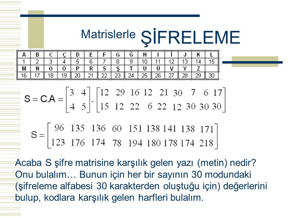 Matrislerle ŞİFRELEME Şimdi de 2x2 lik herhangi (tercihen determinantı 1 veya –1 olan) bir C şifreleme matrisi yazalım. Mesela C matrisi aşağıdaki gib