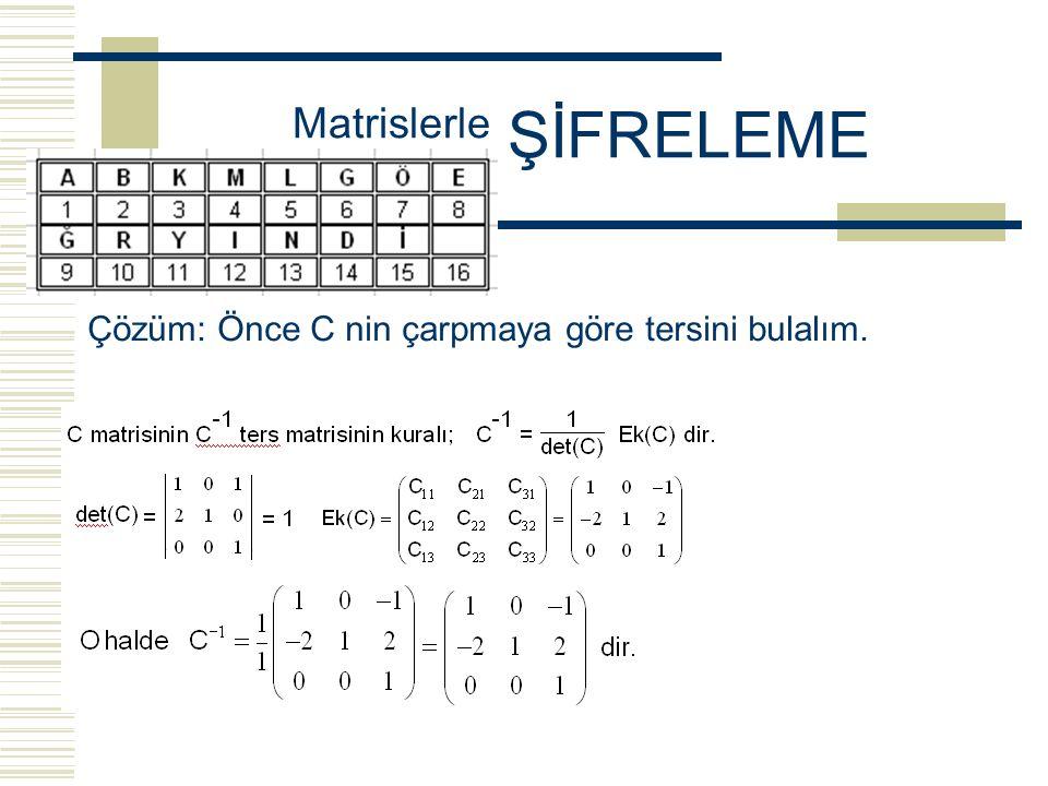 """Örnek: Yukarıdaki """"Şifreleme Alfabesi"""" kullanarak aşağıdaki şifrelenmiş 3x16 lık S matrisi ve 3x3 lük C şifreleme matrisi verildiğine göre; şifrelenme"""