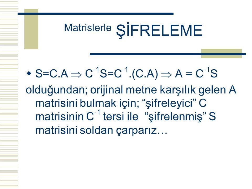  S=C.A  C -1 S=C -1.(C.A)  A = C -1 S olduğundan; orijinal metne karşılık gelen A matrisini bulmak için; şifreleyici C matrisinin C -1 tersi ile şifrelenmiş S matrisini soldan çarparız… Matrislerle ŞİFRELEME