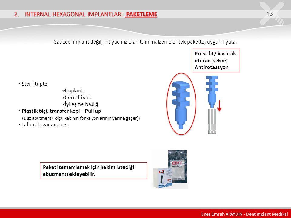 2. INTERNAL HEXAGONAL IMPLANTLAR: PAKETLEME 13 Sadece implant değil, ihtiyacınız olan tüm malzemeler tek pakette, uygun fiyata. Steril tüpte İmplant C