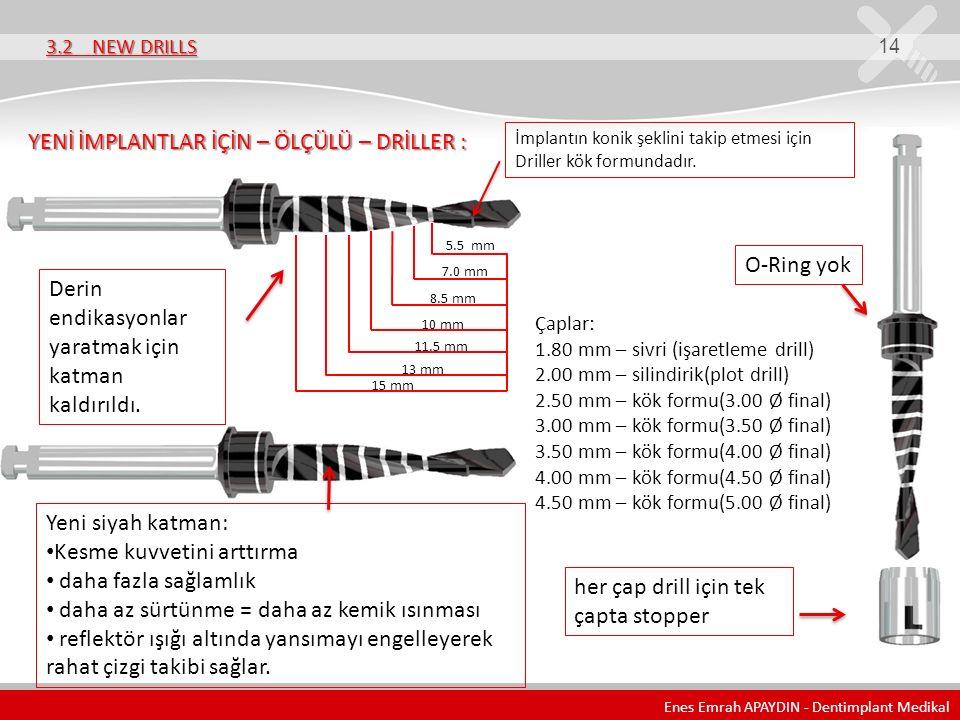 3.2 NEW DRILLS 14 YENİ İMPLANTLAR İÇİN – ÖLÇÜLÜ – DRİLLER : 7.0 mm 8.5 mm 10 mm 11.5 mm 13 mm Çaplar: 1.80 mm – sivri (işaretleme drill) 2.00 mm – sil