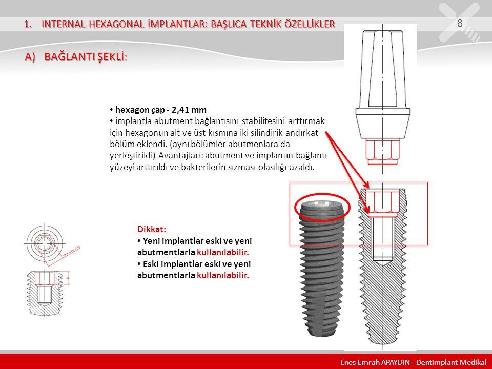 1. INTERNAL HEXAGONAL İMPLANTLAR: BAŞLICA TEKNİK ÖZELLİKLER 6 A) BAĞLANTI ŞEKLİ: A) BAĞLANTI ŞEKLİ: hexagon çap - 2,41 mm implantla abutment bağlantıs