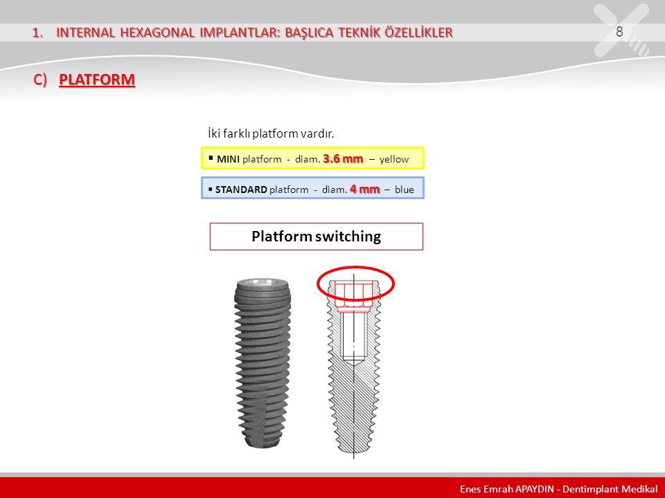 1. INTERNAL HEXAGONAL IMPLANTLAR: BAŞLICA TEKNİK ÖZELLİKLER 8 C) PLATFORM C) PLATFORM Platform switching İki farklı platform vardır. 3.6 mm  MINI pla