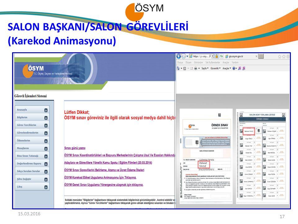 17 SALON BAŞKANI/SALON GÖREVLİLERİ (Karekod Animasyonu) 15.03.2016