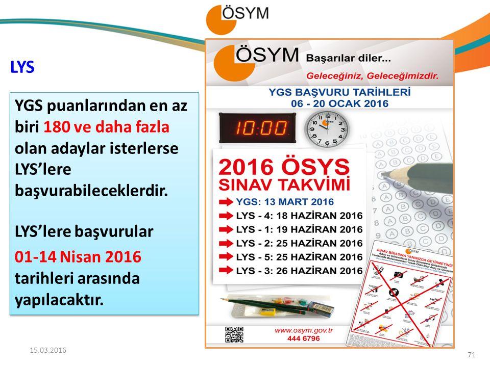 YGS puanlarından en az biri 180 ve daha fazla olan adaylar isterlerse LYS'lere başvurabileceklerdir. LYS'lere başvurular 01-14 Nisan 2016 tarihleri ar