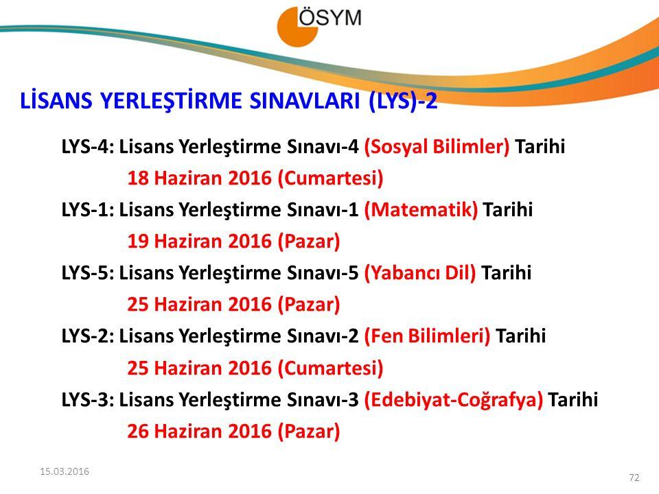 LİSANS YERLEŞTİRME SINAVLARI (LYS)-2 LYS-4: Lisans Yerleştirme Sınavı-4 (Sosyal Bilimler) Tarihi 18 Haziran 2016 (Cumartesi) LYS-1: Lisans Yerleştirme