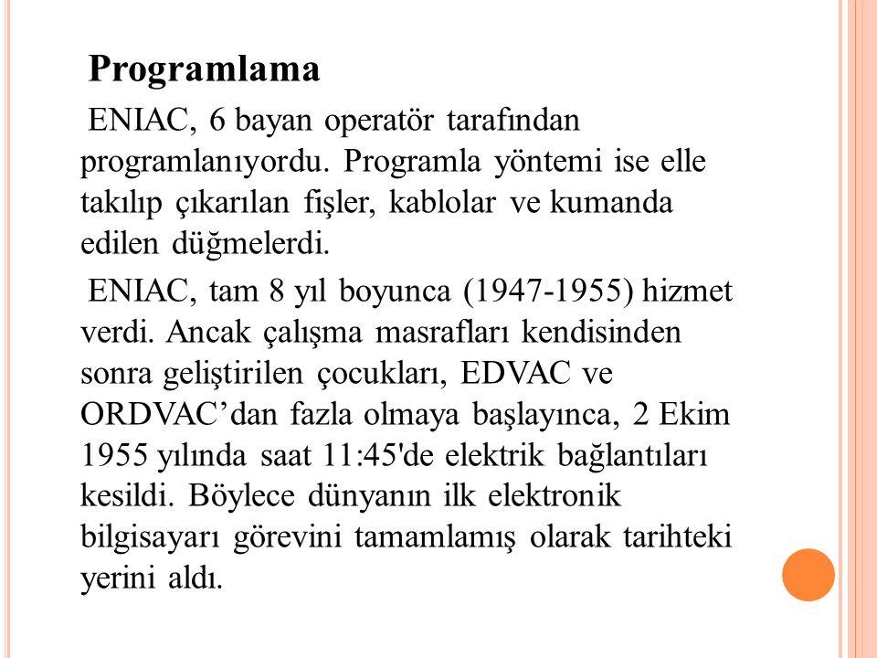 Programlama ENIAC, 6 bayan operatör tarafından programlanıyordu. Programla yöntemi ise elle takılıp çıkarılan fişler, kablolar ve kumanda edilen düğme