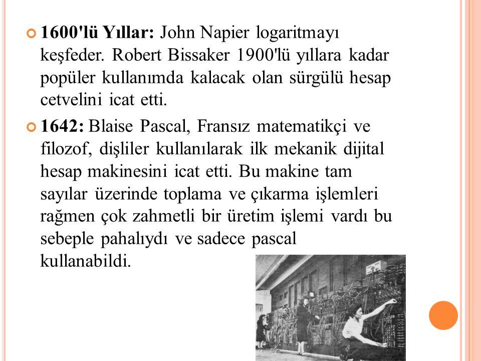 1600'lü Yıllar: John Napier logaritmayı keşfeder. Robert Bissaker 1900'lü yıllara kadar popüler kullanımda kalacak olan sürgülü hesap cetvelini icat e