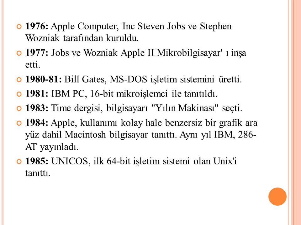 1976: Apple Computer, Inc Steven Jobs ve Stephen Wozniak tarafından kuruldu. 1977: Jobs ve Wozniak Apple II Mikrobilgisayar' ı inşa etti. 1980-81: Bil
