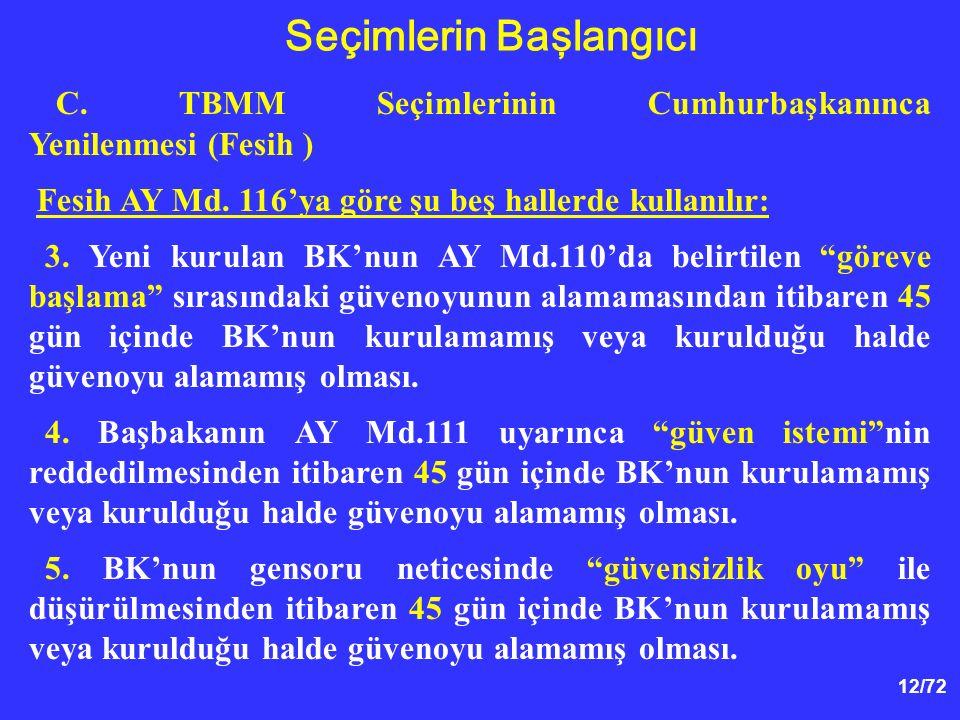 12/72 C. TBMM Seçimlerinin Cumhurbaşkanınca Yenilenmesi (Fesih ) Fesih AY Md. 116'ya göre şu beş hallerde kullanılır: 3. Yeni kurulan BK'nun AY Md.110