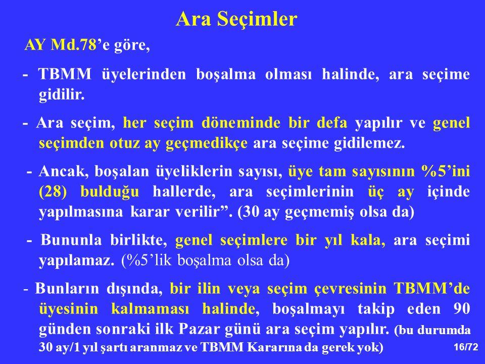 16/72 AY Md.78'e göre, - TBMM üyelerinden boşalma olması halinde, ara seçime gidilir. - Ara seçim, her seçim döneminde bir defa yapılır ve genel seçim