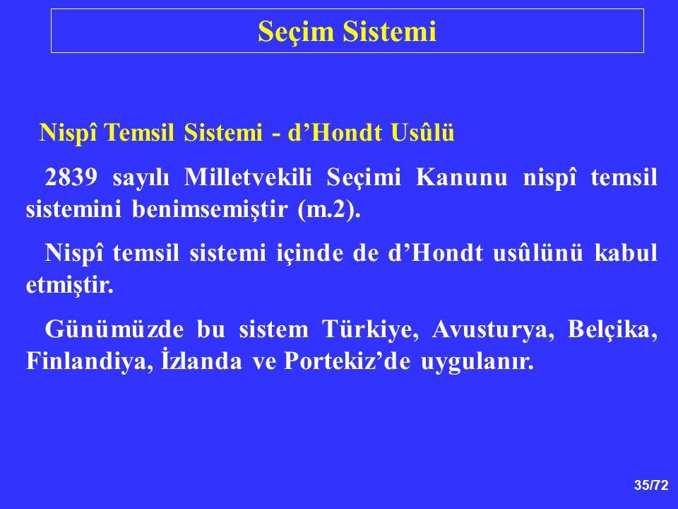 35/72 Nispî Temsil Sistemi - d'Hondt Usûlü 2839 sayılı Milletvekili Seçimi Kanunu nispî temsil sistemini benimsemiştir (m.2). Nispî temsil sistemi içi